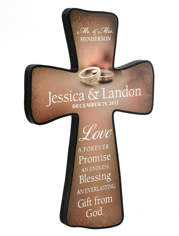 Personalized, Wedding Cross With Double Rings, Small