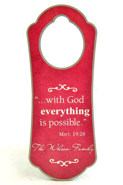 Personalized, Door Hanger, with God Everything is  Possible, Pink