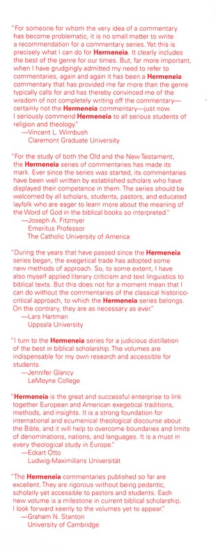 Mark: Hermeneia, a Critical and Historical Commentary on the Bible