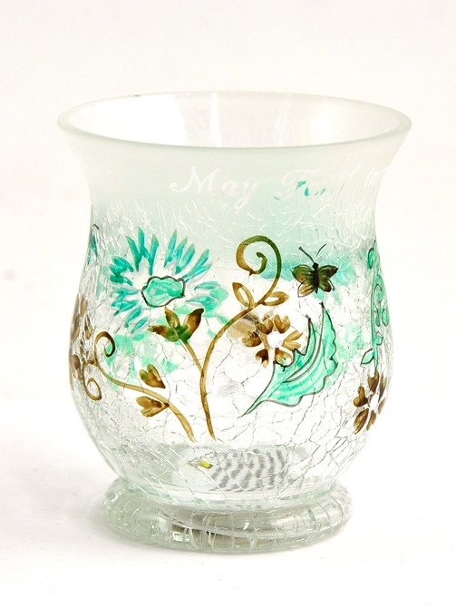 Faith, Hope, Peace Crackled Glass Candle Holder