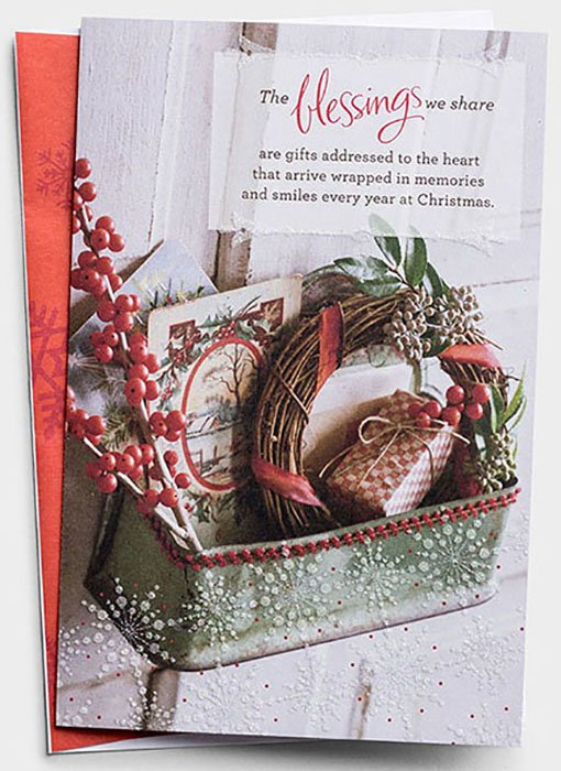 Addressed Christmas Cards.The Blessings We Share Christmas Wreath Christmas Cards Box Of 18
