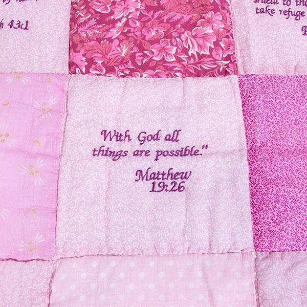 e639ac30d Embroidered Scripture Quilt, Pink - Christianbook.com
