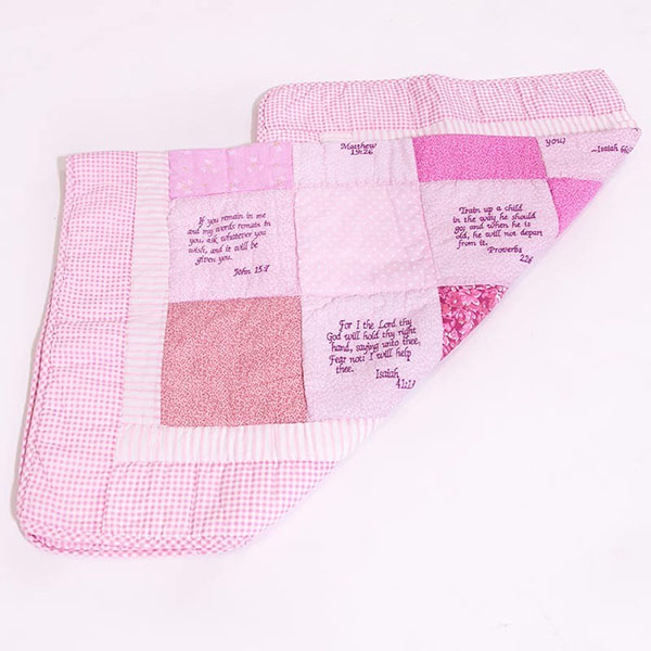 Beautiful Cotton Blanket Embroidered with Scriptures – Bible Verse Baby Quilt