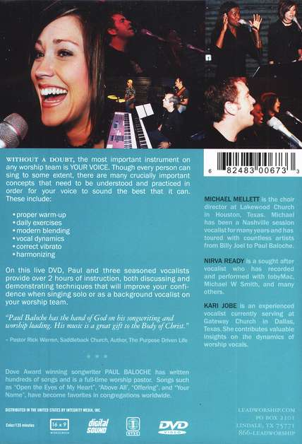 Worship Vocal Workshop, DVD