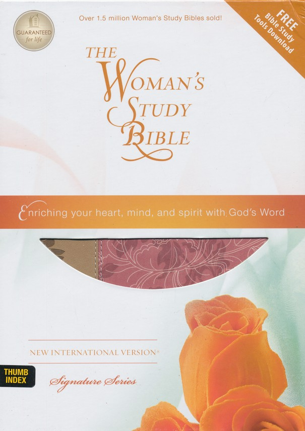 NIV The Woman's Study Bible--soft leather-look, pink/cafe au lait (indexed)