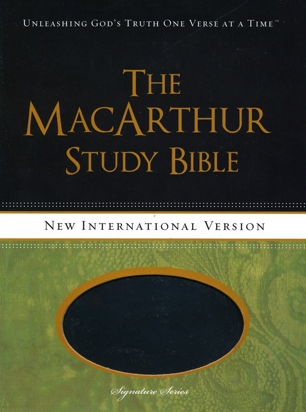 NIV MacArthur Study Bible Leathersoft, Raven, Thumb Indexed