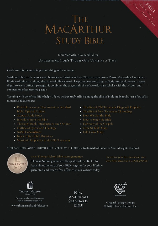 NASB MacArthur Study Bible, Leathersoft, Raven, Thumb Indexed