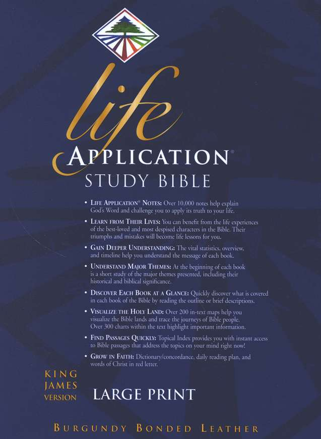 KJV Life Application Study Bible, Large Print, Bonded Leather, Burgundy, Thumb Indexed