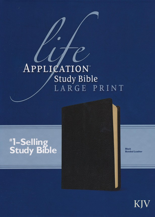 KJV Life Application Study Bible, Large Print , Bonded leather, black