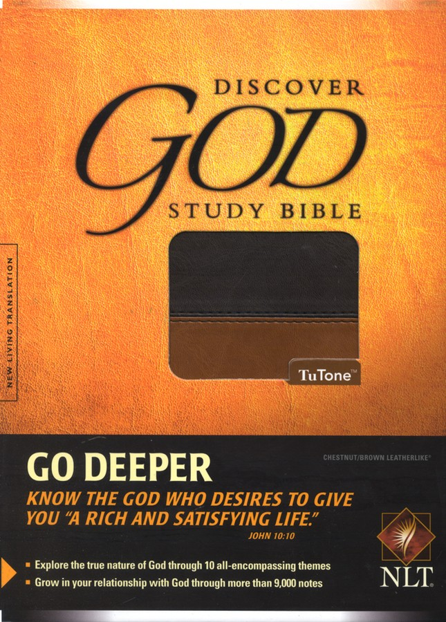 NLT Discover God Study Bible TuTone Leatherlike, Chestnut/Brown