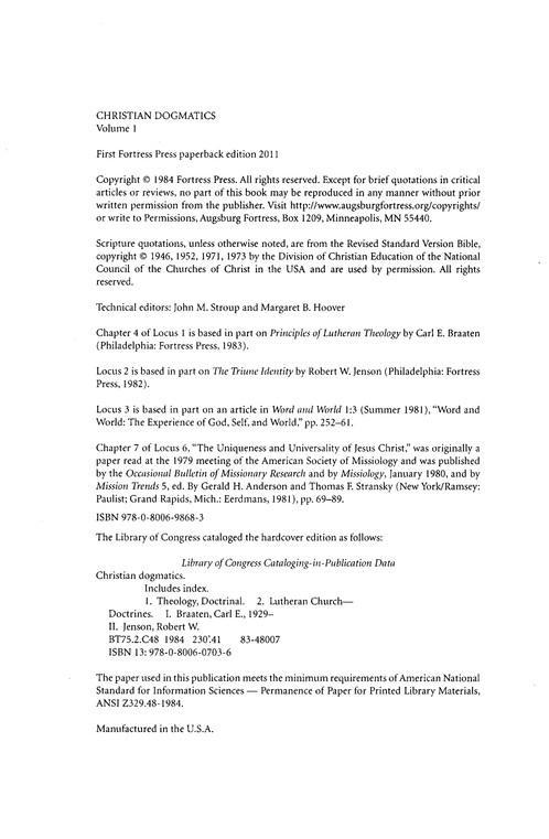 Christian Dogmatics Vol1 Edited By Carl E Braaten Robert W