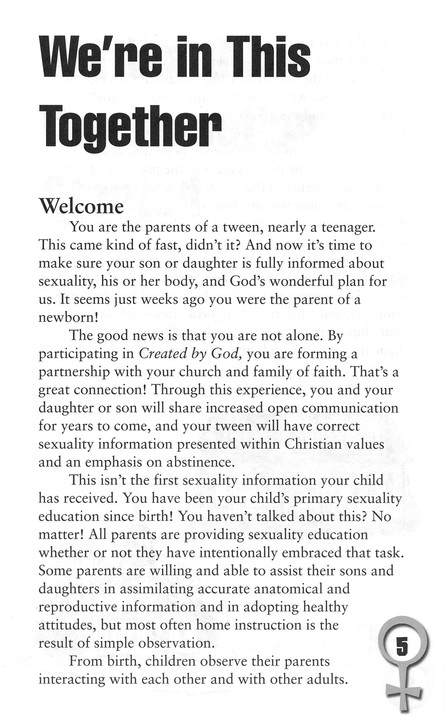 Created by God: Tweens, Faith, and Human Sexuality Parent Guide