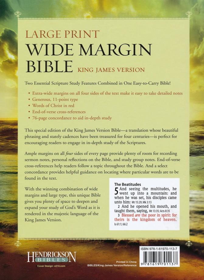 KJV Large Print Wide Margin Bible - Genuine Leather Black