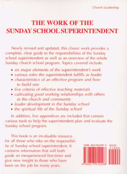 The Work of the Sunday School Superintendent