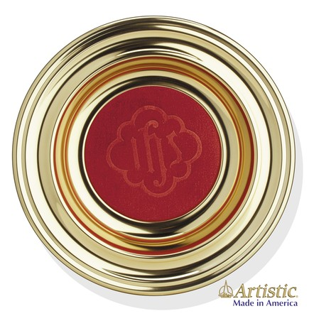 Brasstone Offering Plate with Red Pad, 12 inch diameter