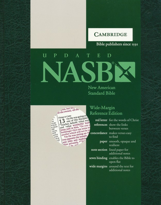 NASB Wide-Margin Reference Bible, Hardcover, green