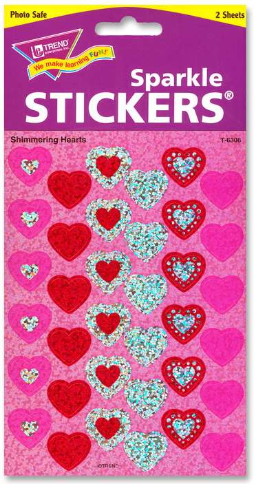 Shimmering Hearts Sparkle Stickers
