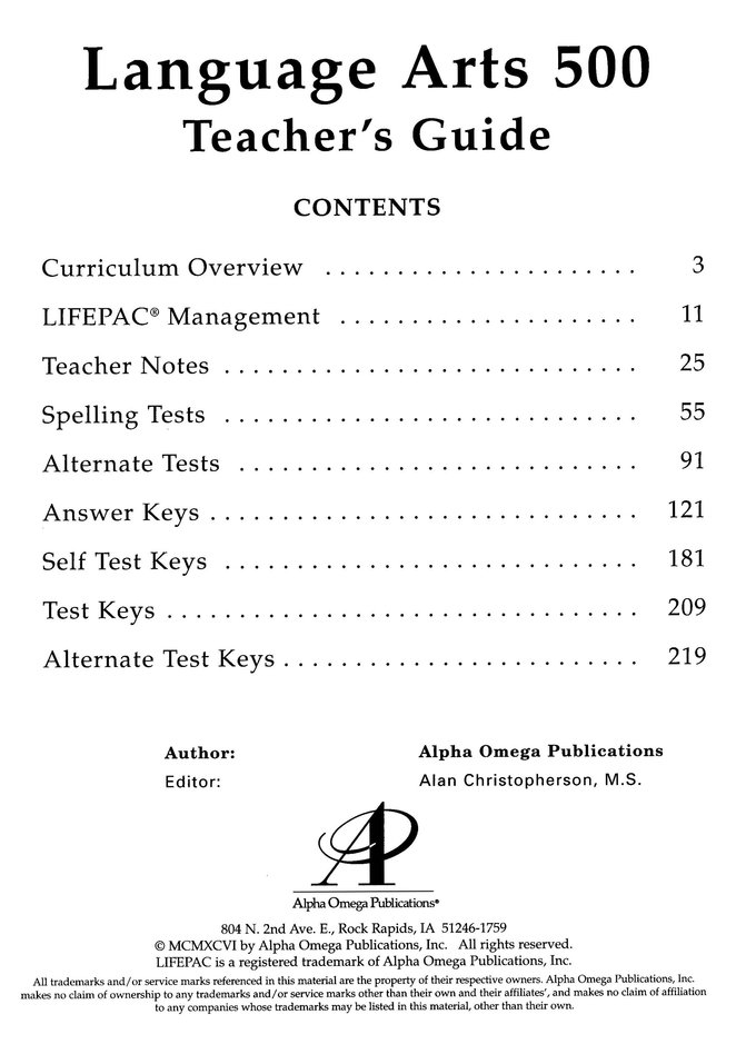 Lifepac Language Arts, Grade 5, Complete Set