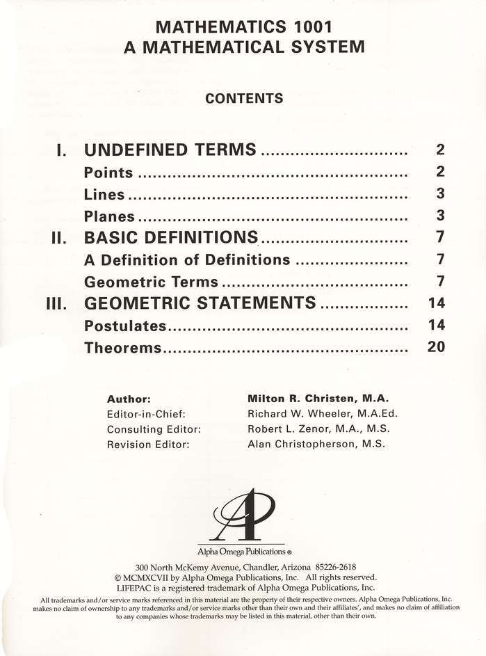 Lifepac Math, Grade 10 (Geometry), Complete Set