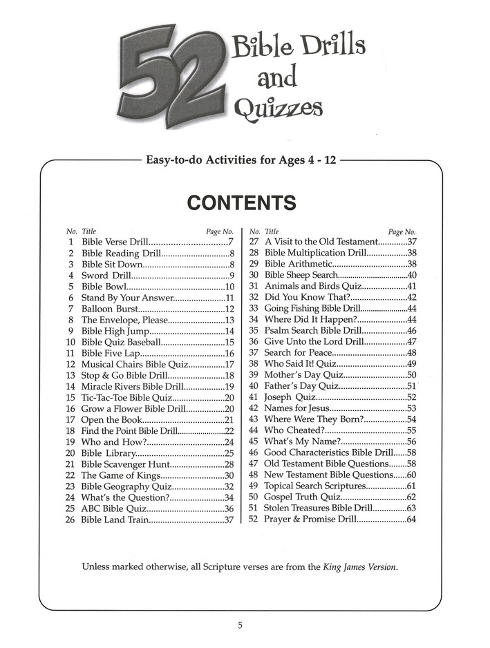 52 Bible Drills & Quizzes