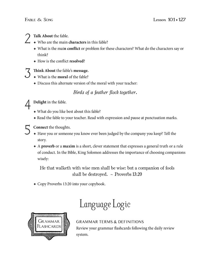 Cottage Press Language Lessons for Grammar Students: Fable & Song