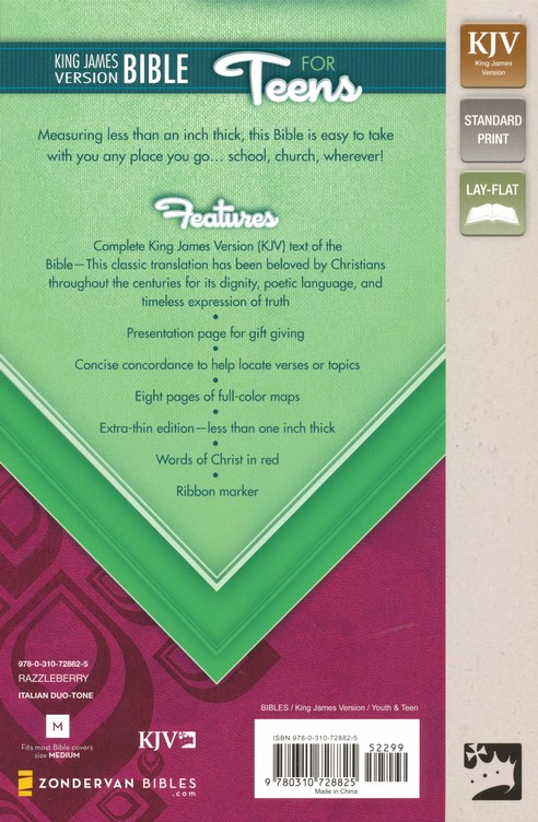 King James Version Bible for Teens, Italian Duo-Tone, Razzleberry