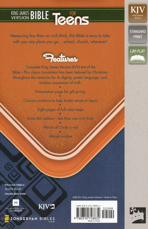 King James Version Bible for Teens, Italian Duo-Tone, Slate Blue