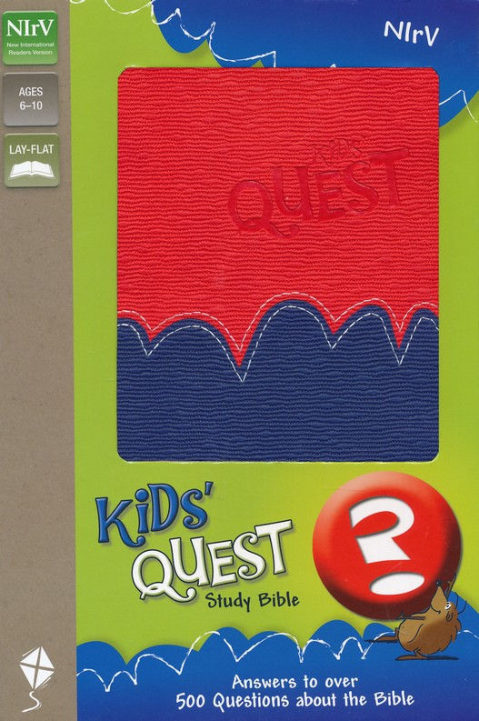 NIrV Kids' Quest Study Bible: Real Questions, Real Answers, Italian Duo-Tone, Red/Blue
