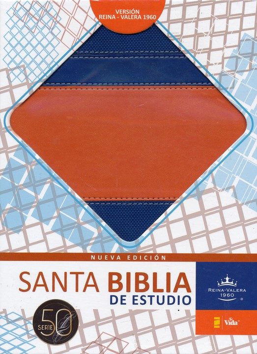 Biblia de Estudio RVR 1960 Serie 50, Piel Imit. Azul/Naranja  (RVR 1960 50 Series Study Bible, Imit. Leather Blue/Orange)