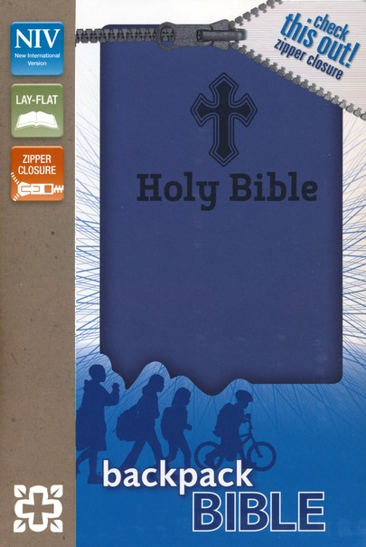NIV Backpack Zipper Bible, Italian Duo-Tone, Blue