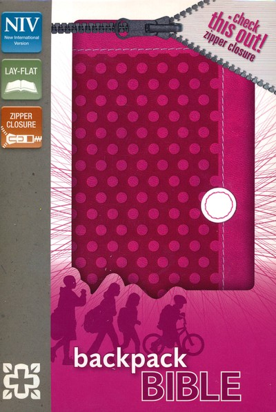 NIV Backpack Zipper Bible, Italian Duo-Tone, Zipper Closure, Polka Pink