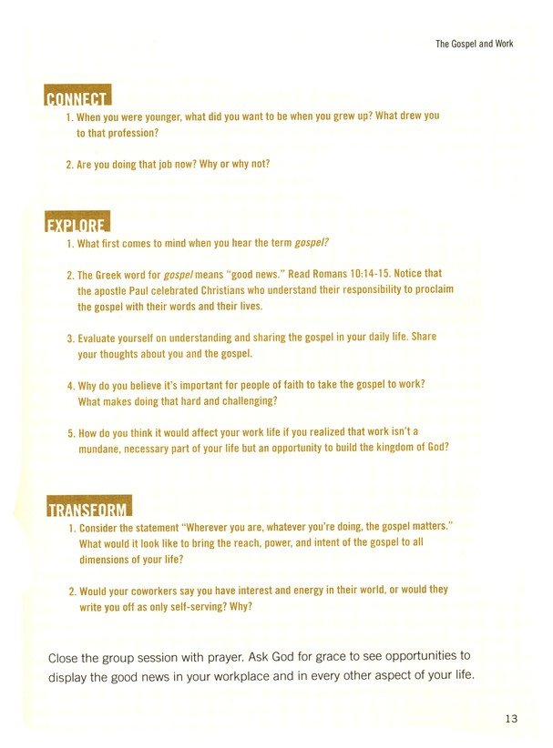 The Gospel Goes to Work, Bible Study Book