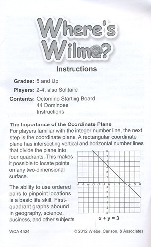 Wheres Wilma Graphing In The Four Quadrants Game 9781933745220