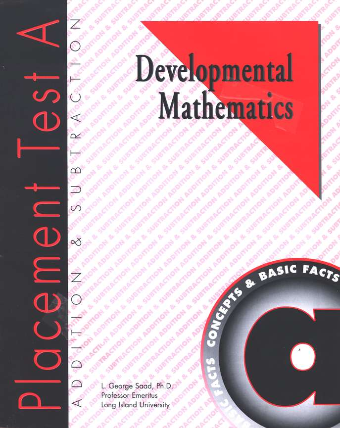 Developmental Math, Placement Test Package A-E