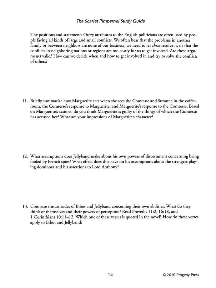 The Scarlet Pimpernel Progeny Press Study Guide Grades 9 12