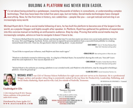 Platform: Get Noticed in a Noisy World Unabridged Audiobook on CD