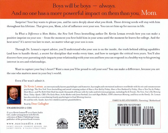 What a Difference a Mom Makes: The Indelible Imprint a Mom Leaves on Her Son's Life Unabridged Audiobook on CD