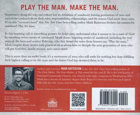 Play the Man: Becoming the Man God Created You to Be - unabridged audio  book on CD