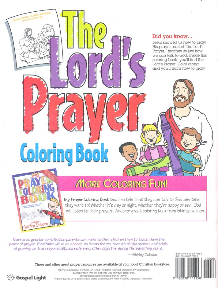 The Lords Prayer Coloring Book Shirley Dobson 9780830771158