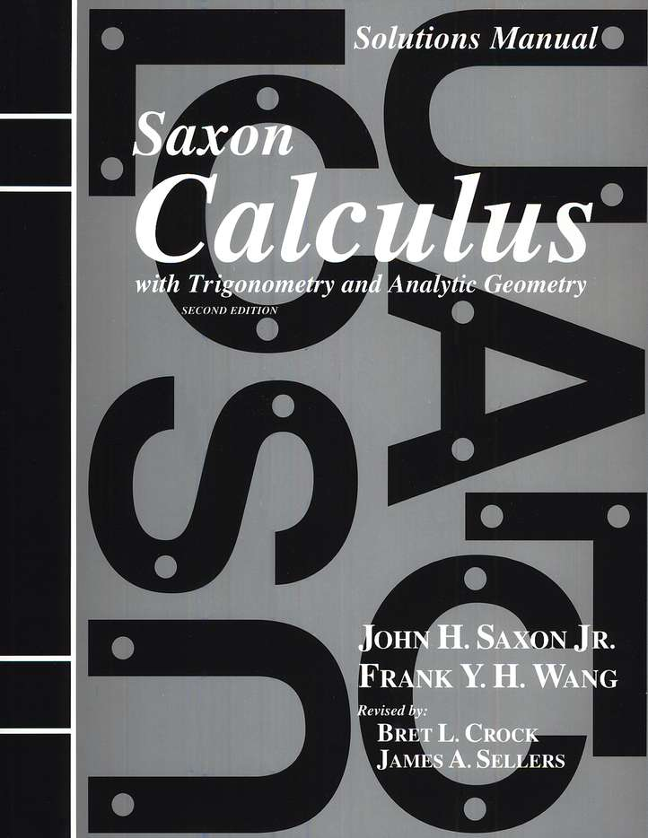 Calculus Solutions Manual, 2nd Edition