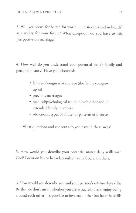 Pre relationship questions
