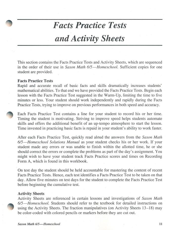 Saxon Math 6/5, 3rd Edition, Tests & Worksheets