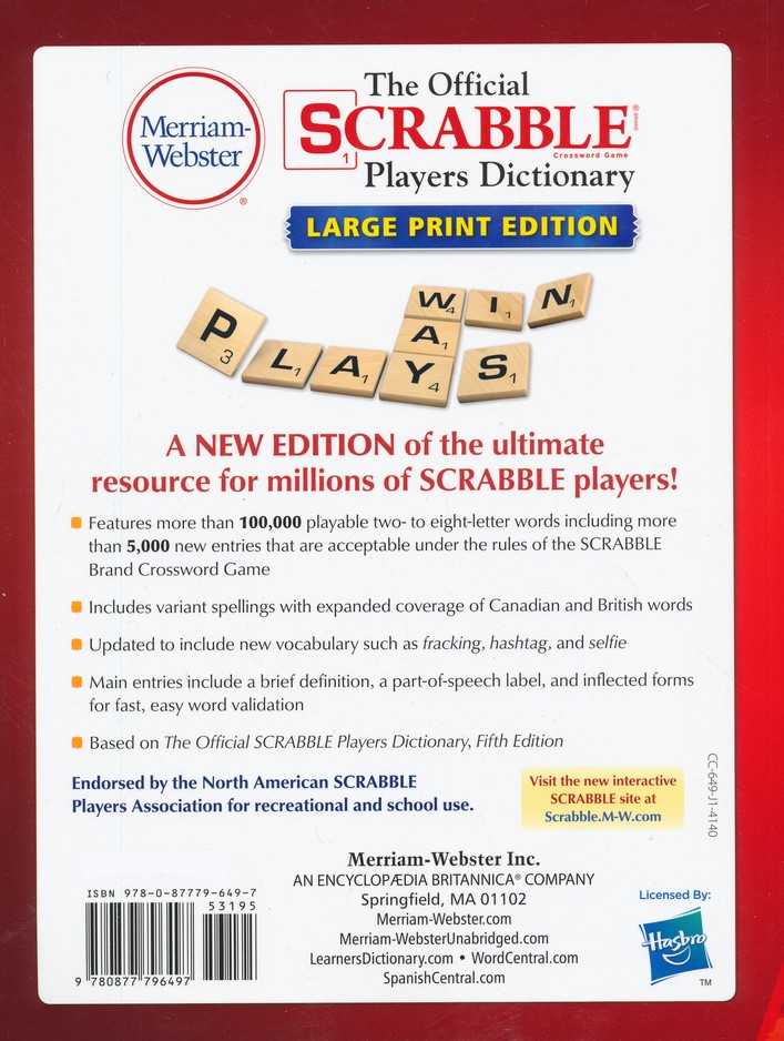 The Official SCRABBLE Players Dictionary, Fifth Edition (Large Print)