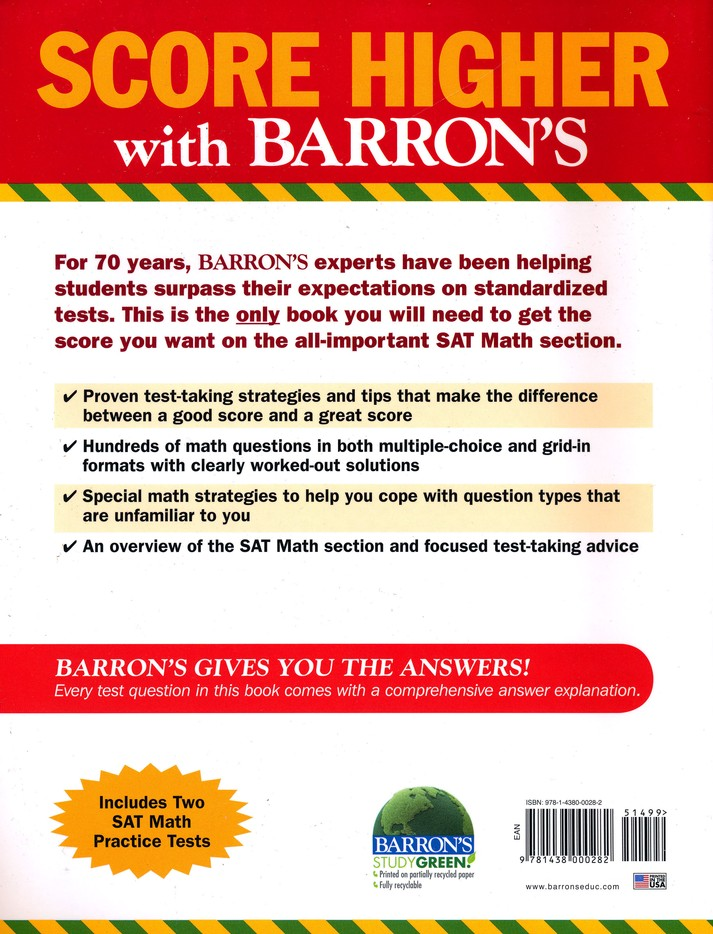 Barrons math workbook for the new sat fifth edition lawrence leff barrons math workbook for the new sat fifth edition lawrence leff ms 9781438000282 christianbook fandeluxe Images