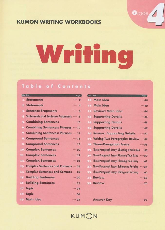 Kumon Writing, Grade 4