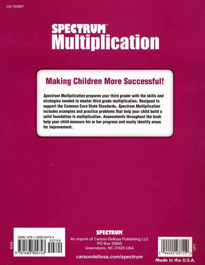Spectrum Multiplication Grade 3 9781483804743 Christianbookcom