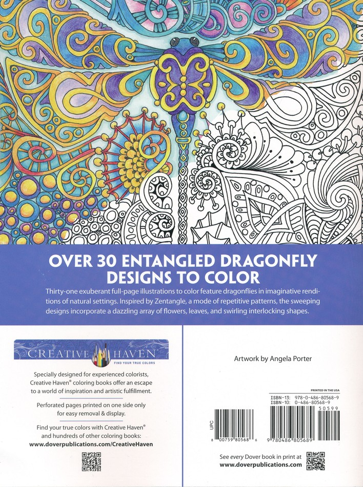 Entangled Dragonflies Adult Coloring Book Angela Porter 9780486805689