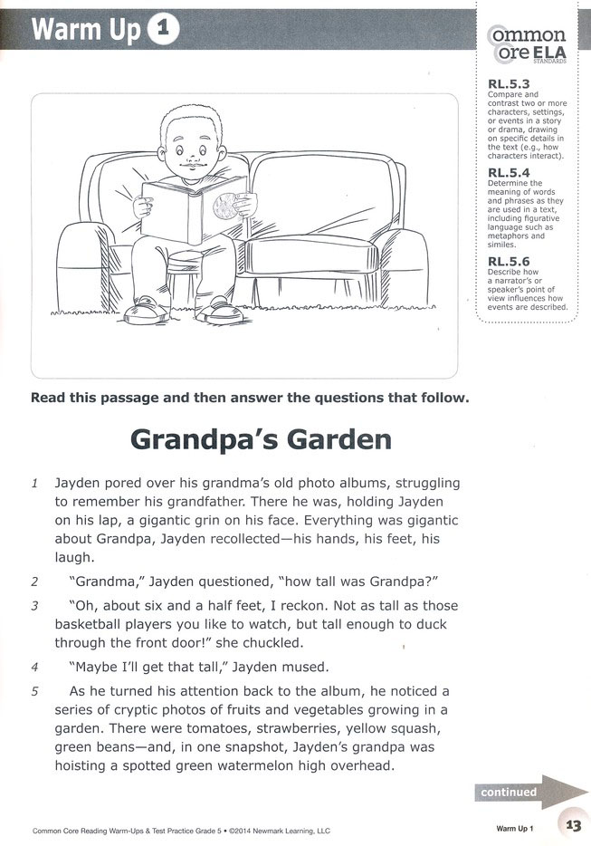 Common Core Reading Warm Ups And Test Practice Grade 5