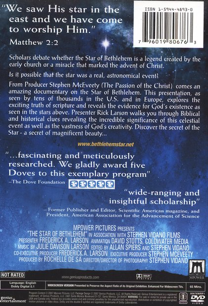 The Star of Bethlehem: Unlock the Mystery of the World's  Most Famous Star  -  DVD