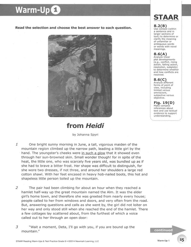 STAAR Reading Warm-Ups & Test Practice Grade 8
